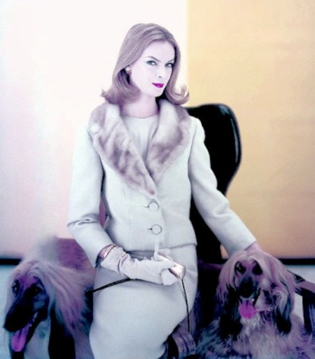 Nena Von Schlebrugge wearing blond-beige two button suit with mink collar, loosely buttoned over silk blouse, by Paul Parness Vogue Sept 1959 © Henry Clarke original