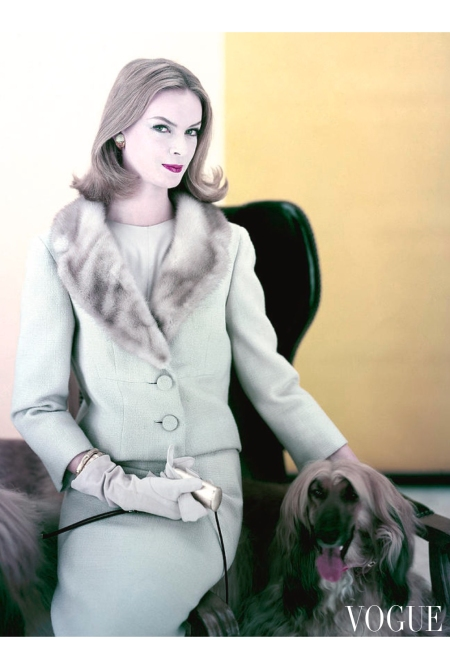 Nena Von Schlebrugge wearing blond-beige two button suit with mink collar, loosely buttoned over silk blouse, by Paul Parness Vogue Sept 1959 © Henry Clarke