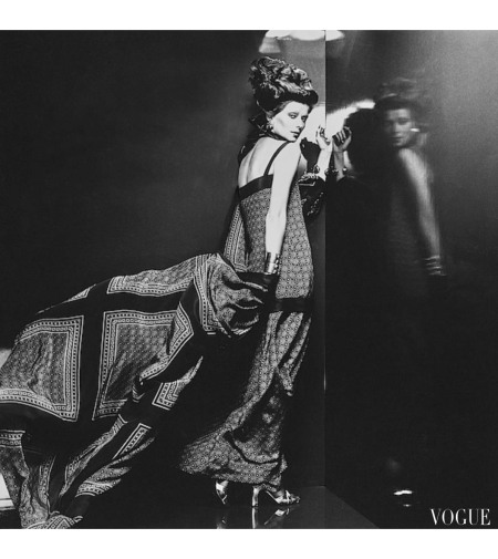 Regine Jaffrey Model wearing a two-piece crepe de chine dress with a thin camisole and matching coat by Patou, and shoes by Andrew Geller Vogue Nov 1974 © Chris Von Wangenheim