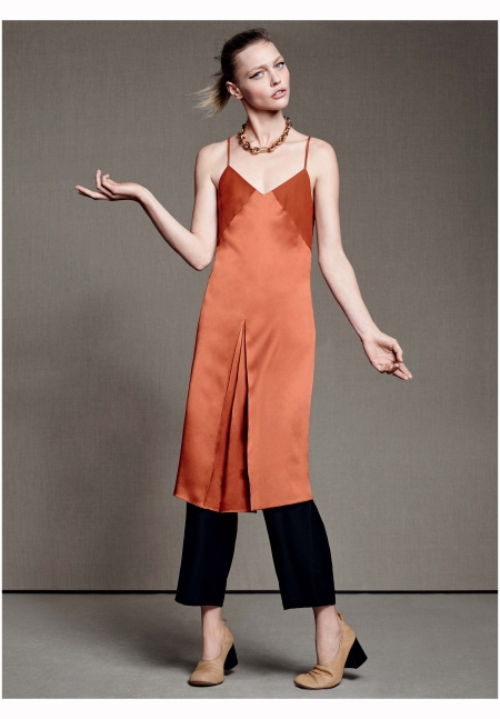 Sasha Pivovarova in a Rag & Bone slip dress paired with Olatz pajama pants Vogue, May 2015 Photo Karim Sadli