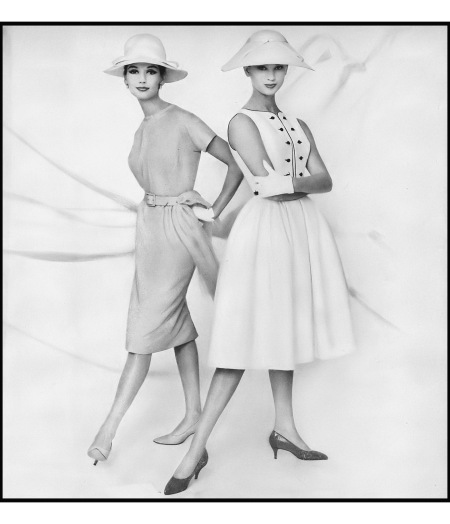 Simone (l) in apricot blond silk dress by Georgia Bullocks and Anna Carin Bjorck in white ribbed cotton dress bound in black by California Girl, white hats by Dior-New York, Harper's Ba