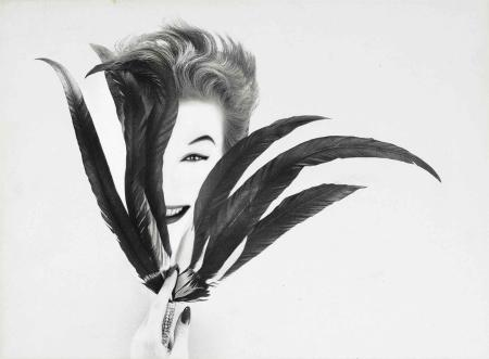 Untitled for Harper's Bazaar (Woman's Head with Feathers), c. 1963 Avedon