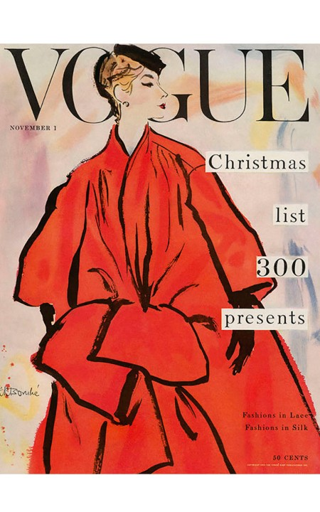 Vogue Magazine November 1953 Cover Featuring A Woman In A Large by Rene R. Bouche b