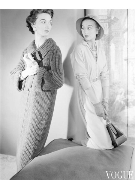 wo models wearing a sweater coat and shirt dress Nov 1953