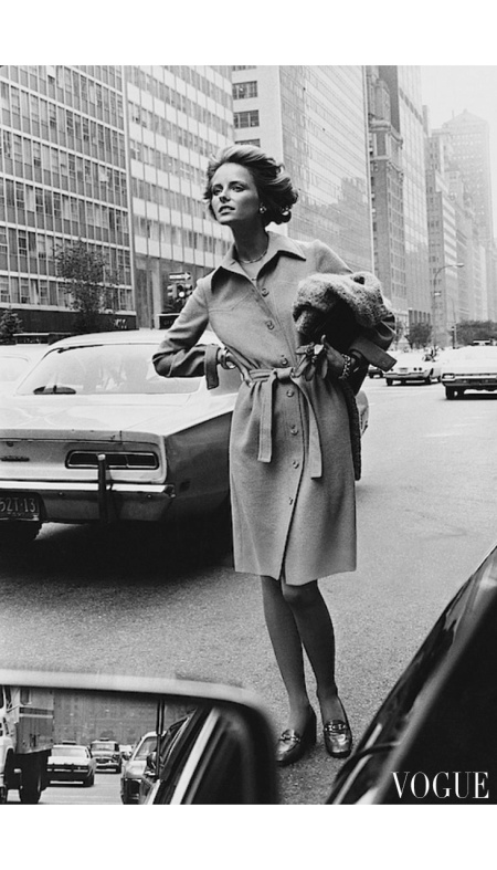 Cheryl Tiegs wearing a Gene Berk shirt dress on Park Avenue, New York City May 1972
