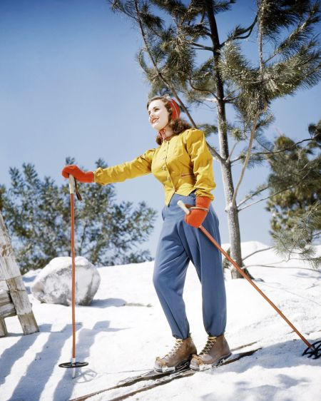 Child star Deanna Durbin brings color, unique-cut and a beaming smile to the slopes, capturing wintertime in all of its glor - Getty silver screen