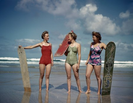 One-piece swimsuits, worn above in 1943 in Cornwall, England (Photo James Jarche:Popperfoto, via Getty Images