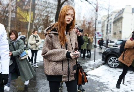 Sara Grace Wallerstedt in a Coach coat -paris-streetstyle-fall-rtw-18-day-3