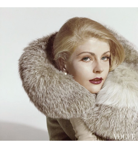 Angela Howard wearing a fur trimmed coat by Heitner and Heitner and plum lipstick Vogue Oct 1960 © Tom Palumbo