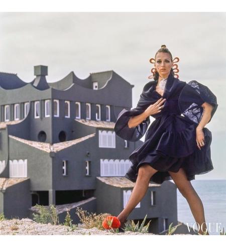 Model wearing a Bill Blass silk organza dress at the Xanadu complex in Calpe, Spain Vogue June 1969 © Henry Clarke