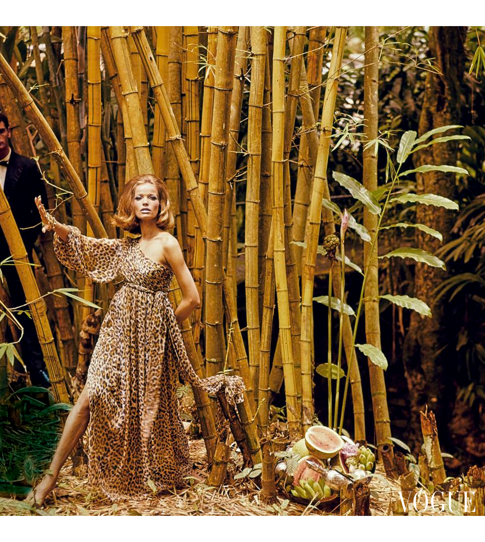 Veruschka wearing a Galanos leopard print dress in front of bamboo Vogue june 1965 © Henry Clarke
