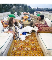 Paul and Talitha Getty on their roof terrace in Marrkesh, Morocco Vogue Jan 1970 © Patrick Lichfield