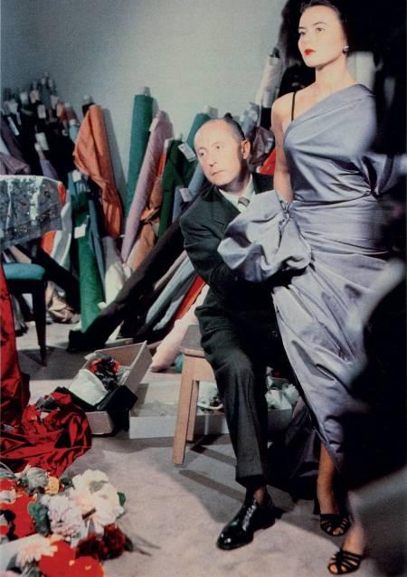 Christian Dior with model Sylvie Hirsch 1948