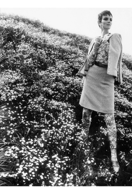 Grace Coddington in a wildflower garden meadow, August 1966 © Eugene vernier