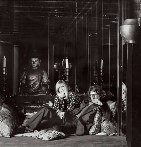 Yves Saint Laurent and Betty Catroux sitting in the Oriental room of Yves Saint Laurent's Parisian home, May 1972-henry-clarke